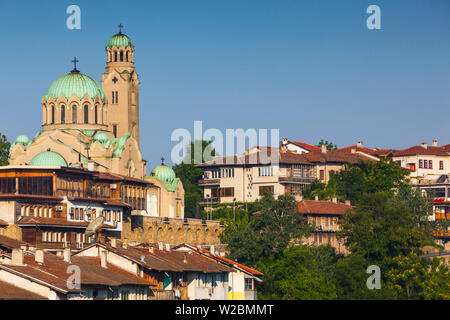 Bulgaria, Central Mountains, Veliko Tarnovo, Asenova, Old Fortress Area, Tsarevets Fortress, elevated view of city - Stock Photo