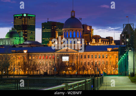 Canada, Quebec, Montreal, Old Port, Marche Bonsecours, market building - Stock Photo
