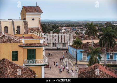 Cuba, Trinidad, View of Iglesia Parroquial de la Santisima Trinidad - Church of the Holy Trinity on Plaza Mayor - Stock Photo
