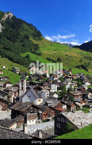 Switzerland, Graubunden, Vals, Town Center - Stock Photo