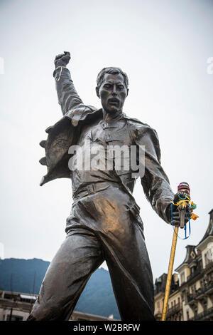 Freddy Mercury Statue, Montreux, Lake Geneva, Vaud, Switzerland - Stock Photo