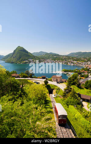 View over Funicular Railway and Lugano from Monte Bre, Lake Lugano, Ticino, Switzerland - Stock Photo
