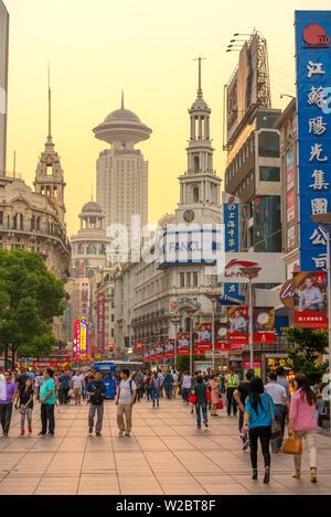 China, Shanghai, Huangpu District, East Nanjing Road - Stock Photo