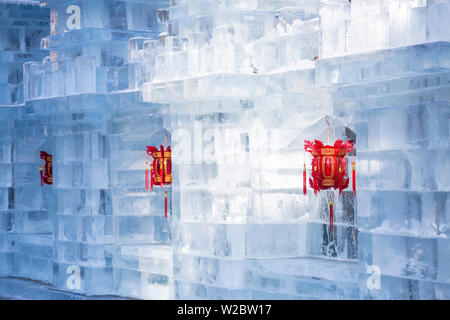 Lanterns and Ice sculptures at the Harbin Ice and Snow Festival in Heilongjiang Province, Harbin,  China - Stock Photo