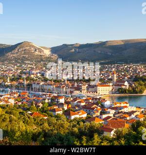 Elevated view over Stari Grad (old town), Trogir, Dalmatia, Croatia - Stock Photo