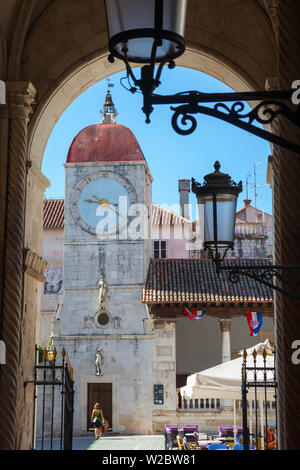 Town Hall clock tower, Stari Grad (Old Town), Trogir, Dalmatia, Croatia - Stock Photo