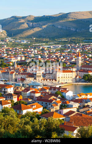 Elevated view over Stari Grad (old town), Trogir, Dalmatia, Croatia - Stock Photo