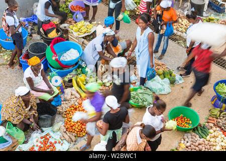 African market, Assomada, Santiago Island, Cape Verde - Stock Photo