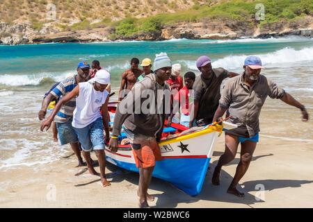 Fishing boats on beach, Tarrafal, Santiago Island, Cape Verde - Stock Photo