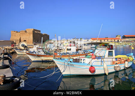 Paphos Castle and Harbour, Paphos, Cyprus, Eastern Mediterranean Sea - Stock Photo