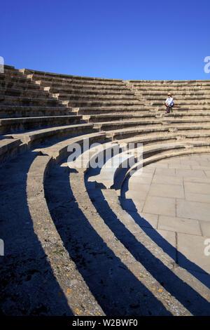 Roman Odeon, Kato Pathos Archaeological Park, Pathos, Cyprus, Eastern Mediterranean Sea - Stock Photo