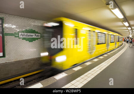 U-Bahn at Potsdammer Platz, Berlin, Germany - Stock Photo