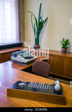 Germany, Berlin, Friendrichshain, Stasi Museum, DDR-era secret police museum in former secret police headquarters, desk of the head spymaster's secretary - Stock Photo