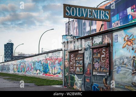 Germany, Berlin, Friendrichshain, East Side Gallery, murals on the Berlin Wall, souvenirs - Stock Photo