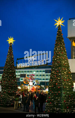 Germany, Berlin, Charlottenburg, Kurfurstendam, Europa Center, City Christmas market - Stock Photo