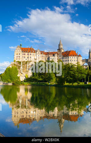 Sigmaringen Castle reflected in the river Danube, Swabia, Baden Wurttemberg, Germany, Europe - Stock Photo