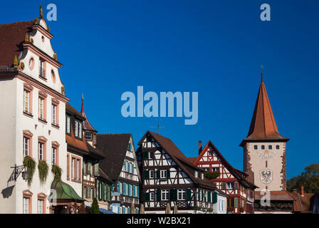 Germany, Baden-Wurttemburg, Black Forest, Gengenbach, buildings along the Hauptstrasse - Stock Photo