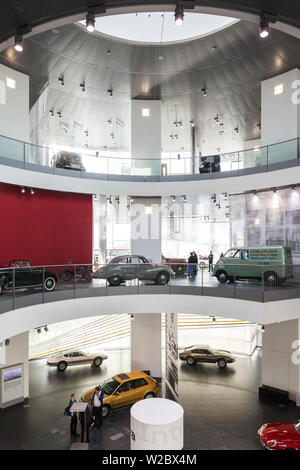 Germany, Bavaria, Ingolstadt, Audi car company museum, interior - Stock Photo