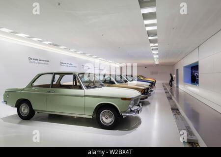 Germany, Bavaria, Munich, BMW Museum, display of BMW cars - Stock Photo