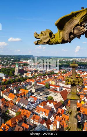 Elevated view over Ulm Cathedral & Old Town, Ulm, Baden-Wurttemberg, Germany