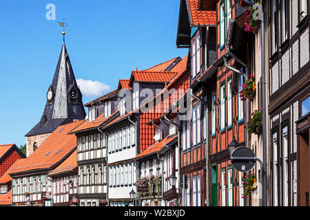 Timber framed houses, old town, Wernigerode, Harz Mountains,  Saxony-Anhalt, Germany - Stock Photo