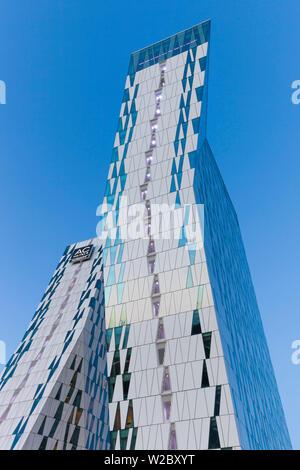 Denmark, Zealand, Copenhagen, Bella Sky Hotel Towers, dusk Stock Photo