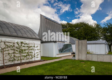 Denmark, Jutland, Herning, HEART Museum, art museum in manufacturing complex, Prototype House, designed by Danish Architect Jorn Utzon, designer of the Sydney Opera House - Stock Photo