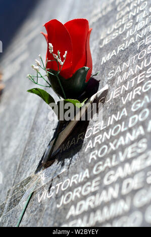San Salvador, El Salvador, Paper Red Rose, Memorial Wall, 'Monument To The Memory And Truth', Names Of People Who Died During The Civil War Of The 1980's, Cuscatlan Park - Stock Photo