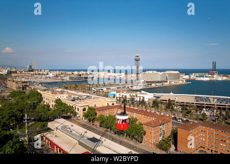 Elevated view over Port Vell - the old harbour district in Barcelona, Spain - Stock Photo
