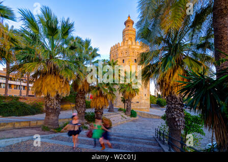 Spain, Andalucia, Seville Province, Seville, Torre del Oro (Gold Tower) - Stock Photo
