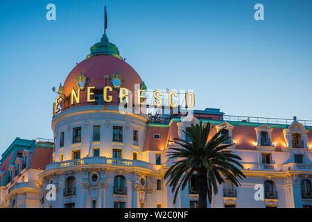 Le Negresco Hotel, Promenade des Anglais, Nice, Alpes-Maritimes, Provence-Alpes-Cote D'Azur, French Riviera, France - Stock Photo
