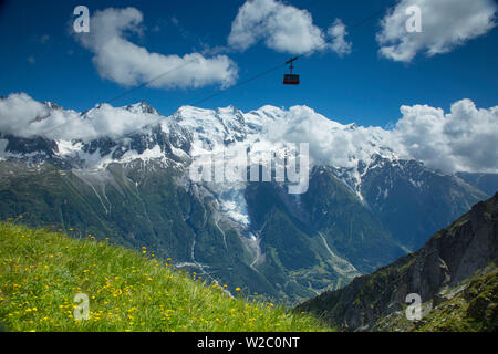 Cable car in front of Mt. Blanc from Mt. Brevent, Chamonix, Haute Savoie, Rhone Alpes, France - Stock Photo