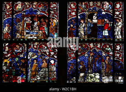A stained glass window depicting Episodes in the Life of Jesus, Strasbourg Cathedral of Notre Dame