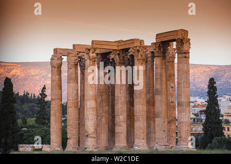 Greece, Attica, Athens, The Temple Of Zeus, also known as the Olympieion - Stock Photo