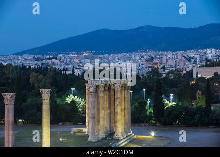 Greece, Attica, Athens, View of The Temple Of Zeus, also known as the Olympieion - Stock Photo