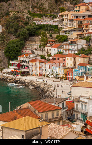 Greece, Epirus Region, Parga, elevated view of town - Stock Photo