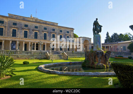 Statue of Sir Frederick Adam  In Front of The Palace of St. Michael and St. George, Corfu Old Town, Corfu, The Ionian Islands, Greek Islands, Greece, Europe - Stock Photo