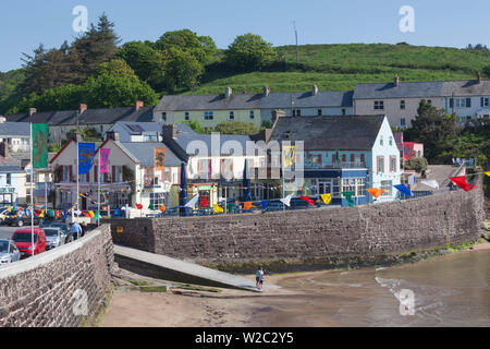 Ireland, County Waterford, Dunmore East, elevated village view