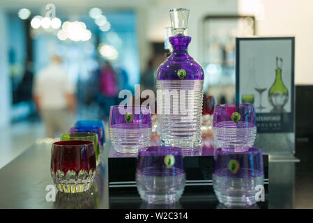 Ireland, County Waterford, Waterford City, Waterford Crystal Complex, Waterford Crystal showroom interior - Stock Photo