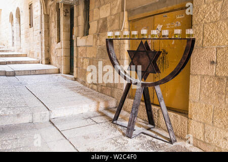 Israel, Jerusalem, Old City, Street in Jewish Quarter, Menorah - Stock Photo