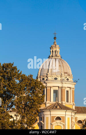 Italy, Lazio, Rome, Piazza Augusto Imperatore,  Chiesa di San Rocco all'Augusteo - Church of St. Roch,  near Cavour bridge - Stock Photo