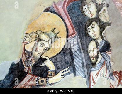 Annunciation of Zacharias fresco, Santa Sofia church (8th century), Benevento, Campania, Italy - Stock Photo