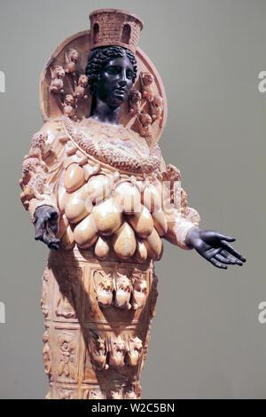 Statue of Artemis of Ephesus (2nd century), National Archaeological Museum, Naples, Campania, Italy - Stock Photo