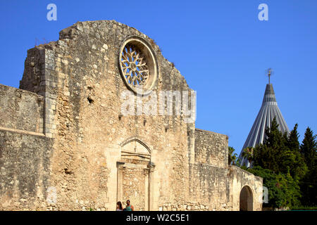 Facade of Church of San Giovanni and Sanctuary of Our Lady of the Tears, Syracuse, Sicily, Italy - Stock Photo