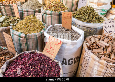 Spices & herbs for sale in Amman market, Amman, Jordan - Stock Photo