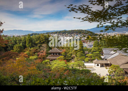 Japan, Kyoto, Ginkakuji Temple - A World Heritage Site, View of Silver Pavilion and Kyoto city - Stock Photo