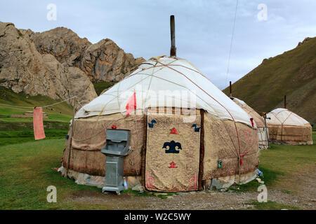 Yurt (Nomads tent) in Tash Rabat valley, Naryn oblast, Kyrgyzstan - Stock Photo