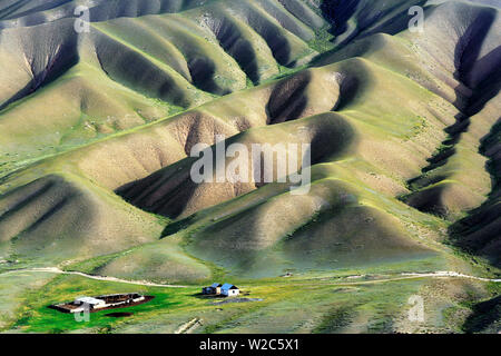 Road to Song Kol lake, Naryn oblast, Kyrgyzstan - Stock Photo