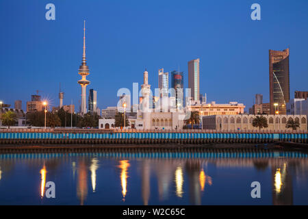 Kuwait, Kuwait City, City skyline reflecting in  harbour - Stock Photo