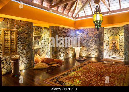 Yoga room at the Spa in Beachcomber Dinarobin Hotel, Le Morne Brabant Peninsula, Black River (Riviere Noire), West Coast, Mauritius (MR) - Stock Photo